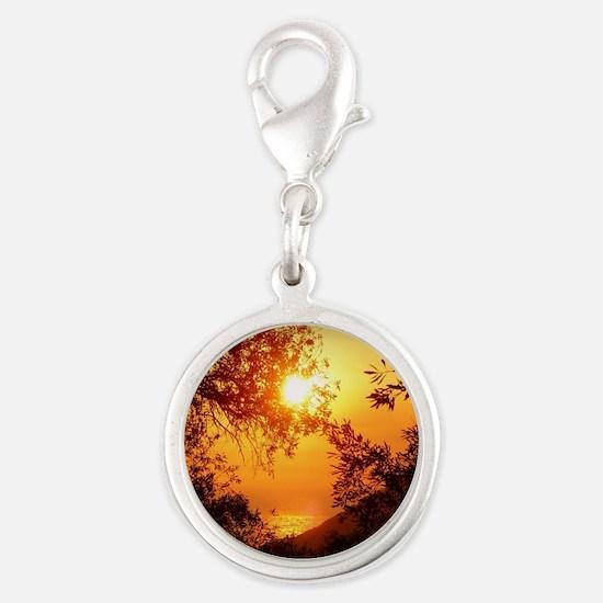 Wonderful Sunset Silver Round Charm