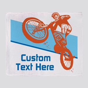 Custom Motocross Bike Design Throw Blanket