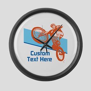 Custom Motocross Bike Design Large Wall Clock