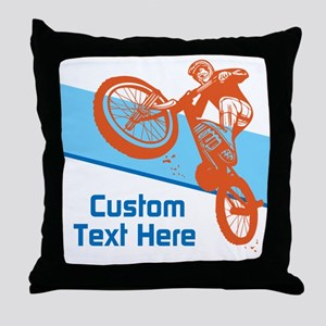 Custom Motocross Bike Design Throw Pillow