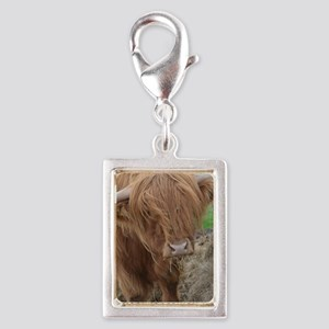 Young Highland Cow Silver Portrait Charm