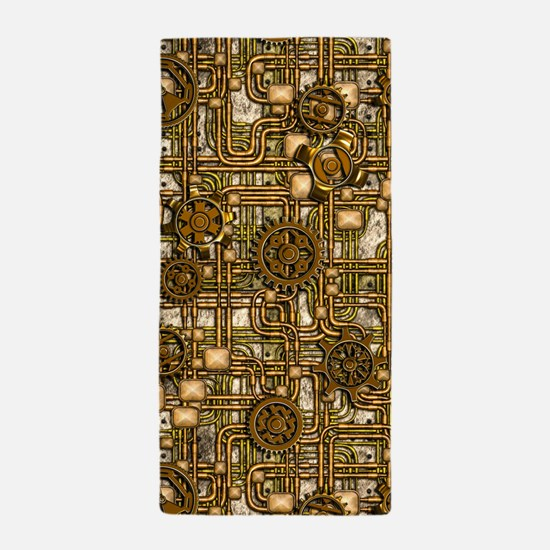 Steampunk Cogs&Pipes-Brass Beach Towel
