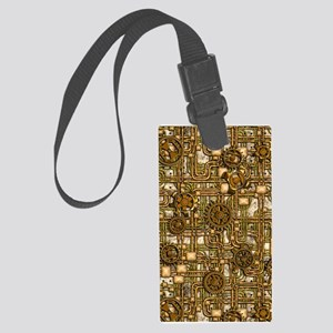 Steampunk Cogs&Pipes-Brass Large Luggage Tag