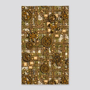 Steampunk Cogs&Pipes-Brass 3'x5' Area Rug