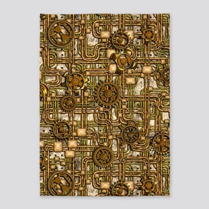 Steampunk Cogs&Pipes-Brass 5'x7'Area Rug