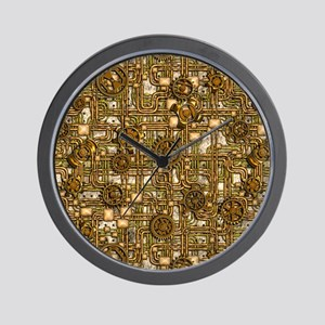 Steampunk Cogs&Pipes-Brass Wall Clock