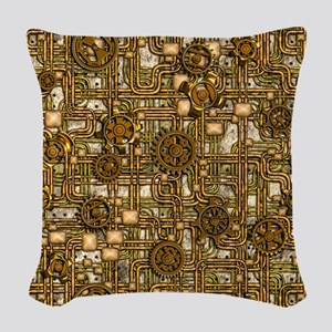 Steampunk Cogs&Pipes-Brass Woven Throw Pillow