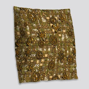 Steampunk Cogs&Pipes-Brass Burlap Throw Pillow