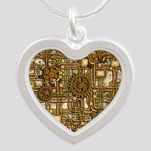 Steampunk Cogs&Pipes-Brass Silver Heart Necklace