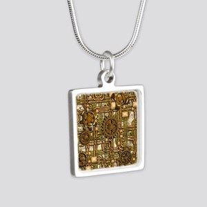 Steampunk Cogs&Pipes-Brass Silver Square Necklace