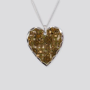 Steampunk Cogs&Pipes-Brass Necklace Heart Charm