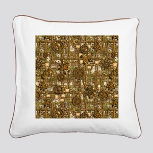 Steampunk Cogs&Pipes-Brass Square Canvas Pillow
