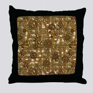 Steampunk Cogs&Pipes-Brass Throw Pillow
