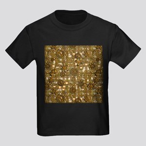 Steampunk Cogs&Pipes-Brass Kids Dark T-Shirt