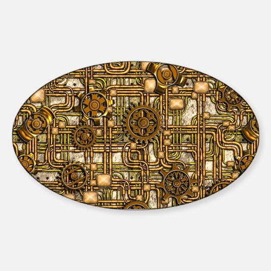 Steampunk Cogs&Pipes-Brass Sticker (Oval)