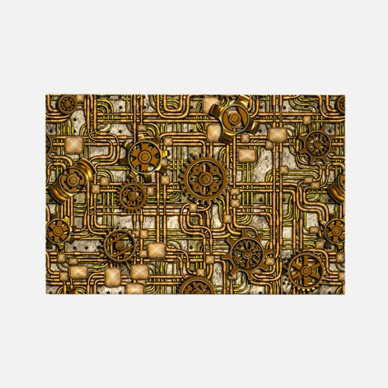 Steampunk Cogs&Pipes-Br Rectangle Magnet (10 pack)