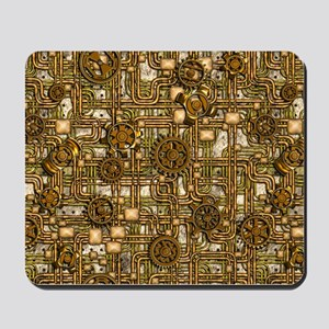 Steampunk Cogs&Pipes-Brass Mousepad