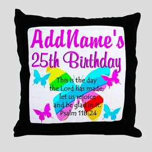 BLESSED 25TH Throw Pillow