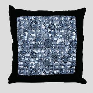 Steampunk Panel - Steel Throw Pillow