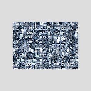 Steampunk Panel - Steel 5'x7'Area Rug