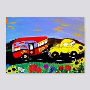 Retro Yellow Truck and Camper Trail 5'x7'Area Rug