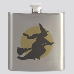 Witchy Witch on a Broom Flask