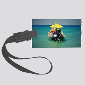 Boat in Thailand Large Luggage Tag