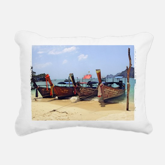 Boats in Thailand Rectangular Canvas Pillow