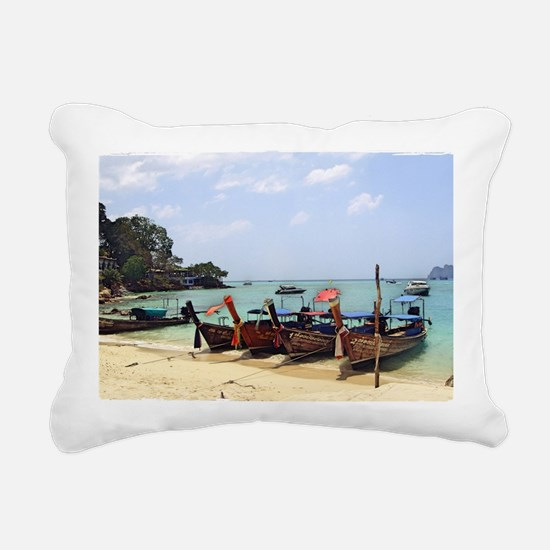 Boats On The Beach In Th Rectangular Canvas Pillow