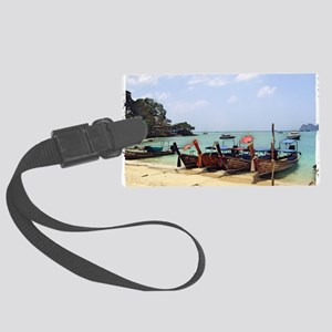 Boats On The Beach In Thailand Large Luggage Tag