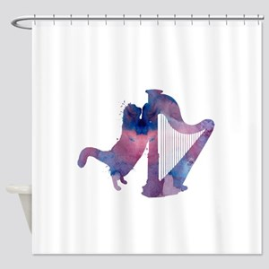 Cat with harp Shower Curtain