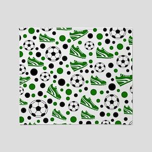 Soccer - Green, Black, White Throw Blanket