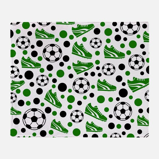 Soccer - Green, Black, White Throw Blanket