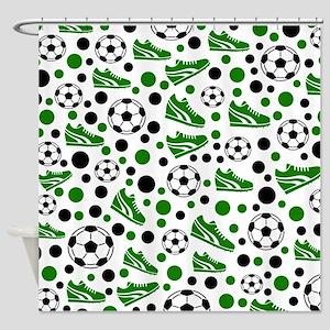 Soccer - Green, Black, White Shower Curtain