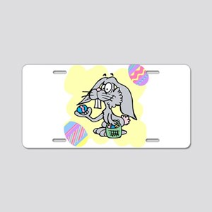 silly Easter bunny with eggs Aluminum License Plat
