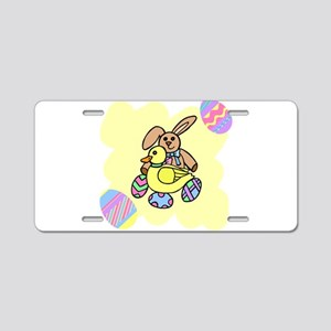 bunny with duck and eggs Aluminum License Plate