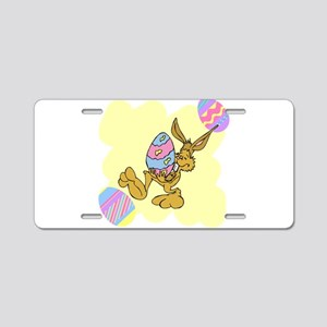easter bunny with giant egg Aluminum License Plate