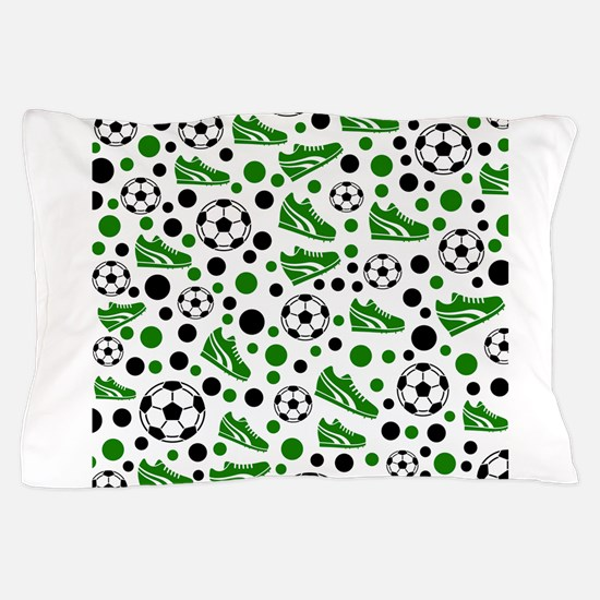 Soccer - Green, Black, White Pillow Case