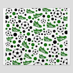 Soccer - Green, Black, White King Duvet