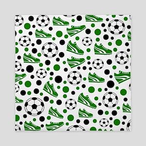 Soccer - Green, Black, White Queen Duvet