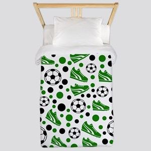 Soccer - Green, Black, White Twin Duvet