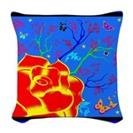 Midnight Rose Woven Throw Pillow