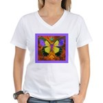 Psychedelic Butterfly Women's V-Neck T-Shirt