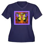 Psychedelic Women's Plus Size V-Neck Dark T-Shirt