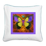 Psychedelic Butterfly Square Canvas Pillow