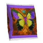 Psychedelic Butterfly Burlap Throw Pillow