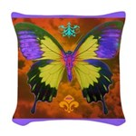 Psychedelic Butterfly Woven Throw Pillow