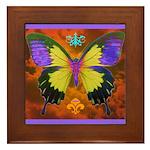 Psychedelic Butterfly Framed Tile