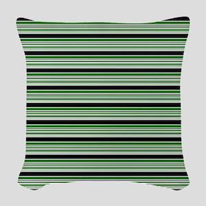 Soccer - Green, Black, White Woven Throw Pillow