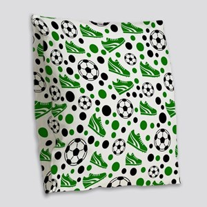 Soccer - Green, Black, White Burlap Throw Pillow